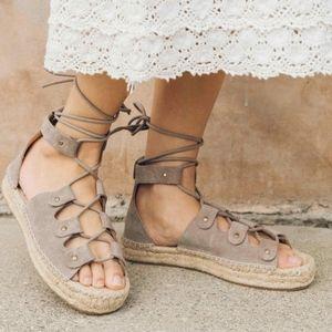 SOLUDOS Platform Espadrille Lace up Wedge Sandal